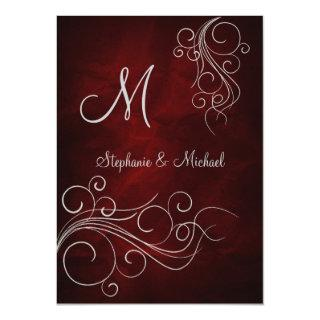 Elegant Red Silver Monogram Wedding Invitations