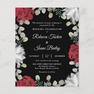 Elegant Red White Floral Greenery Wedding Invite