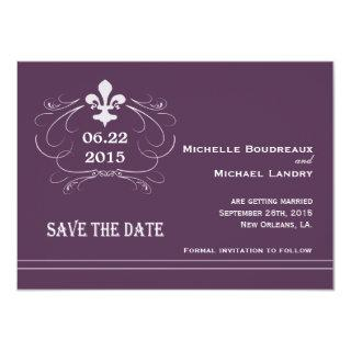 Elegant Retro Style Fleur de Lis Save the Date Invitation