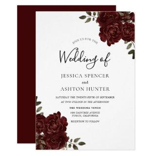 Elegant Romantic Burgundy Red Rose Wedding Invite