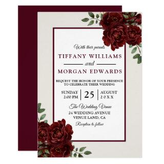 Elegant Romantic Burgundy Roses Wedding Invite