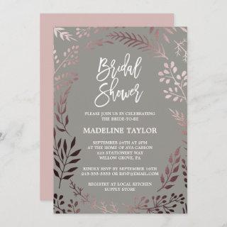 Elegant Rose Gold and Gray Bridal Shower Invitations