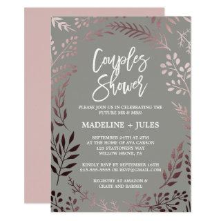 Elegant Rose Gold and Gray Couples Shower Invitations