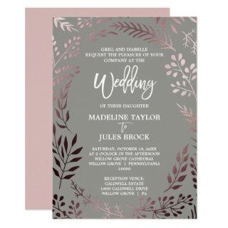 Elegant Rose Gold and Gray | Formal Wedding Invitations