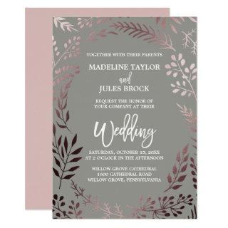 Elegant Rose Gold and Gray | Leafy Frame Wedding Invitation