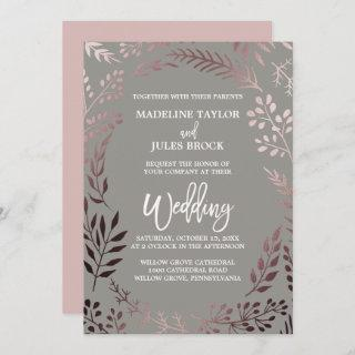 Elegant Rose Gold and Gray | Leafy Frame Wedding Invitations