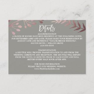 Elegant Rose Gold and Gray Wedding Details Card