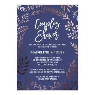 Elegant Rose Gold and Navy Couples Shower Invitation