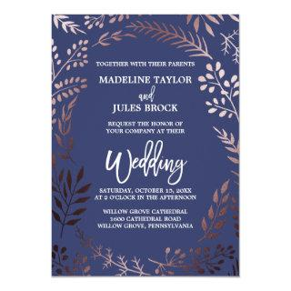 Elegant Rose Gold and Navy | Leafy Frame Wedding Invitations