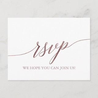 Elegant Rose Gold Calligraphy Song Request RSVP Invitation Postcard