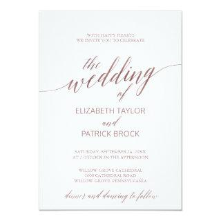 Elegant Rose Gold Calligraphy The Wedding Of Invitation