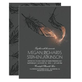 Elegant Rose Gold Feathers Vintage Wedding Invitation