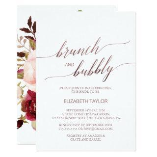 Elegant Rose Gold | Floral Brunch & Bubbly Invitations