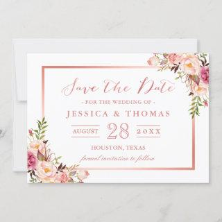 Elegant Rose Gold Floral Wedding Save the Date