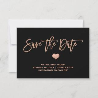 Elegant Rose Gold on Black with Heart Save The Date