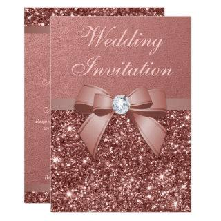 Elegant Rose Gold Wedding Diamonds Bow Glitter Invitation