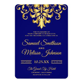 Elegant Royal Blue Gold Damask Wedding Invitations