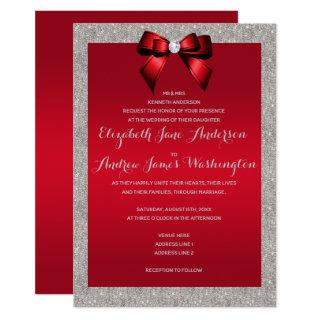 Elegant Ruby Red & Silver Glitter Wedding Invitations