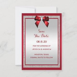 Elegant Ruby Red & Silver Glitter Wedding Save The Date