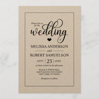 Elegant Rustic Black Kraft Paper Script Wedding Invitations