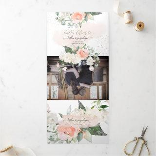 Elegant Rustic Blush Cream Watercolor Roses Tri-Fold Invitations