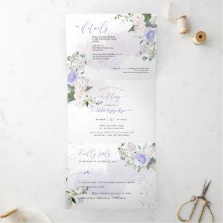 Elegant Rustic Dusty Purple Watercolor Roses Tri-Fold Invitation