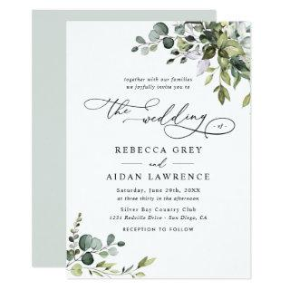 Elegant Rustic Eucalyptus Leaves Greenery Wedding Invitations