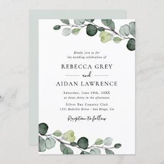 Elegant Rustic Eucalyptus Leaves Greenery Wedding Invitation