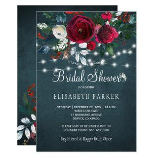 Elegant rustic winter peony roses bridal shower Invitations