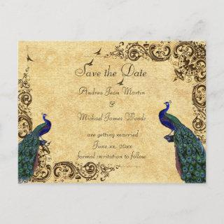 Elegant, Save the Date, Peacocks, Custom Announcement Postcard