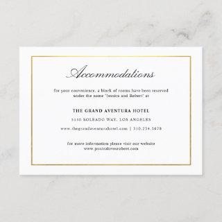 Elegant Script and Gold Border Accommodations Enclosure Card
