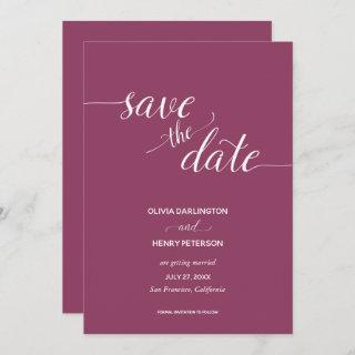 Elegant Script Berry Wedding Save the Date Cards