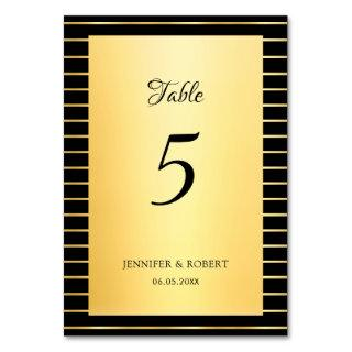 Elegant Script Calligraphy Black And Gold Template Table Number