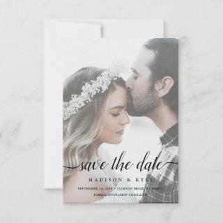 Elegant Script Faded Photo Save the Date Wedding
