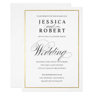 Elegant Script Faux Gold Border Wedding Invitations