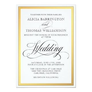 Elegant Script Flourishes Wedding Invitations