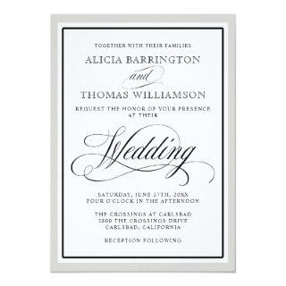 Elegant Script Flourishes with Any Color Border Invitation