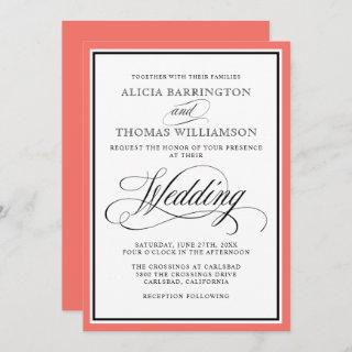 Elegant Script Flourishes with Coral Border Invitations