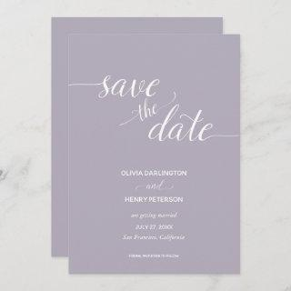Elegant Script Lilac Wedding Save the Date Cards