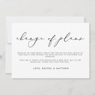 Elegant Script Monochrome Change of Plans Wedding Announcement