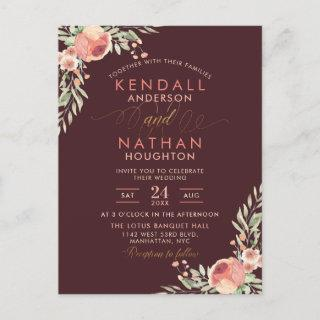 Elegant Script Rose Watercolor Floral Wedding Invitation Postcard