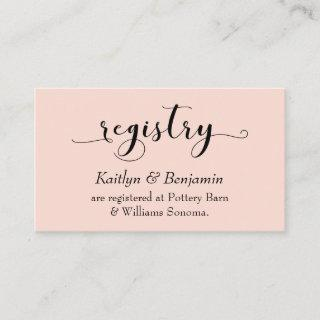 Elegant Script Typography, Blush Wedding Registry Enclosure Card