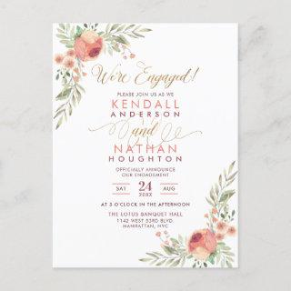 Elegant Script Watercolor Floral Engagement Party Invitations Postcard