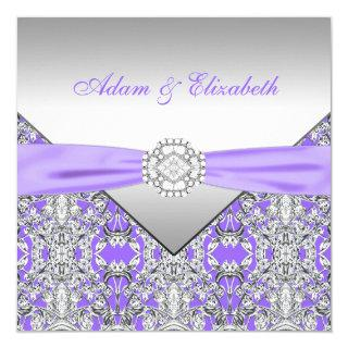Elegant Silver and Lavender Purple Lace Wedding Invitation