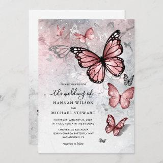 Elegant Silver and Pink Butterfly Wedding Invitations