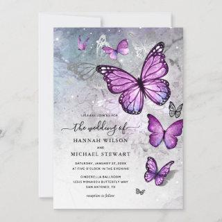 Elegant Silver and Purple Butterfly Wedding Invitations