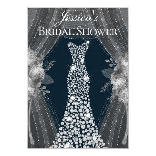 Elegant Silver Curtains Navy Dress Bridal Shower Invitation