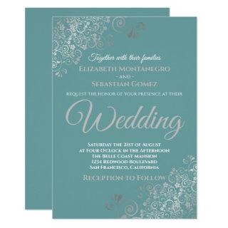 Elegant Silver Frills Teal Wedding Invitations
