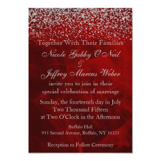 Elegant Silver Glitter on Red Wedding Invitation