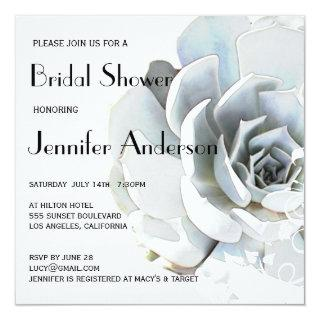 Elegant Silver Gray Blue Succulent Bridal Shower Invitations